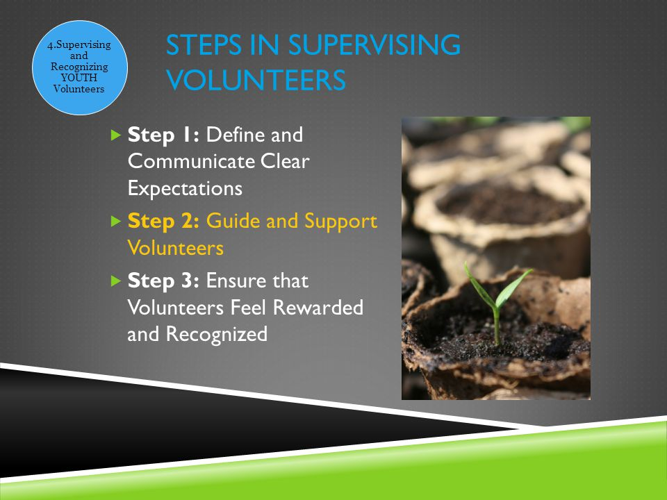 STEPS IN SUPERVISING VOLUNTEERS 4.Supervising and Recognizing YOUTH Volunteers  Step 1: Define and Communicate Clear Expectations  Step 2: Guide and Support Volunteers  Step 3: Ensure that Volunteers Feel Rewarded and Recognized