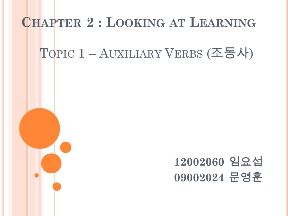 C HAPTER 2 : L OOKING AT L EARNING T OPIC 1 – A UXILIARY V ERBS ( 조동사 ) 임요섭 문영훈