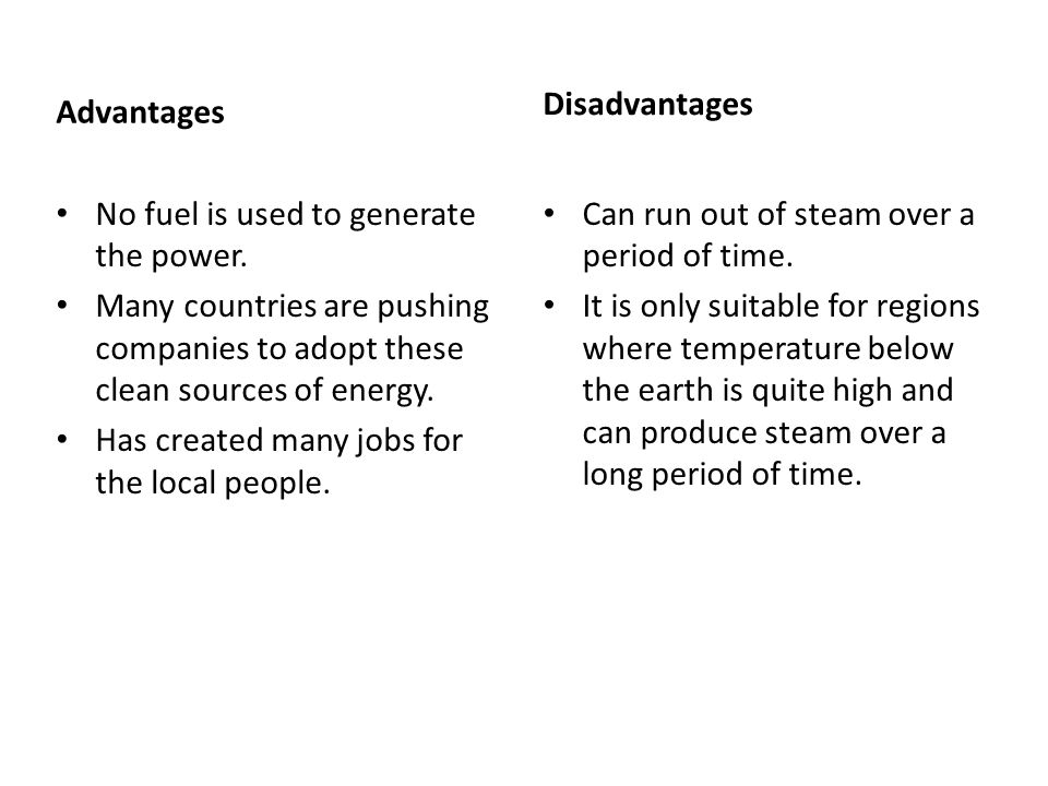 Advantages No fuel is used to generate the power.
