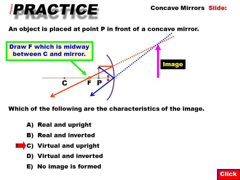 Click The diagram below represents an object placed in front of a concave mirror whose centre of curvature is at point C.