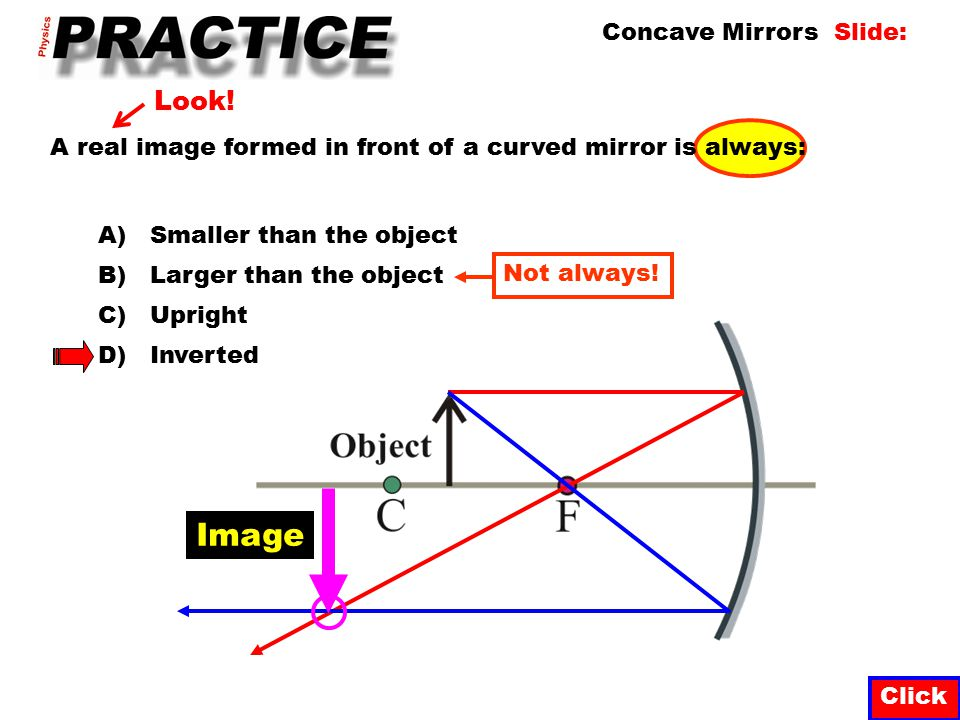 Normal Click Concave Mirrors Slide: