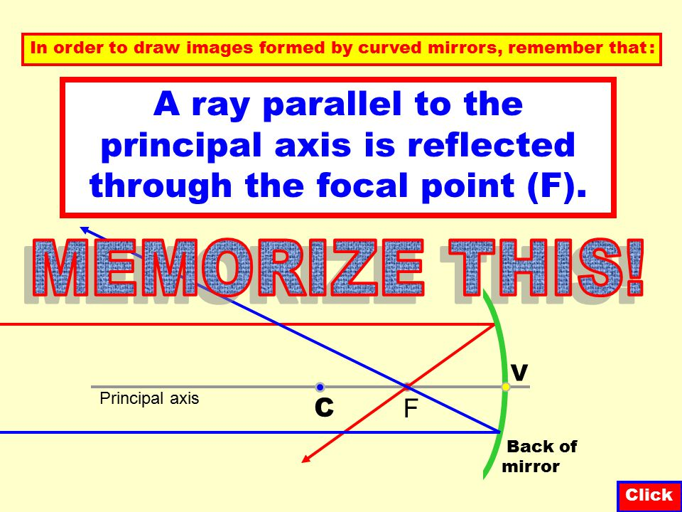 F Concave mirrors C Back of mirror Principal axis Radius of curvature f Focal length V (vertex) Center of curvature Focal point NOTE The focal length (f) is half the radius of curvature.