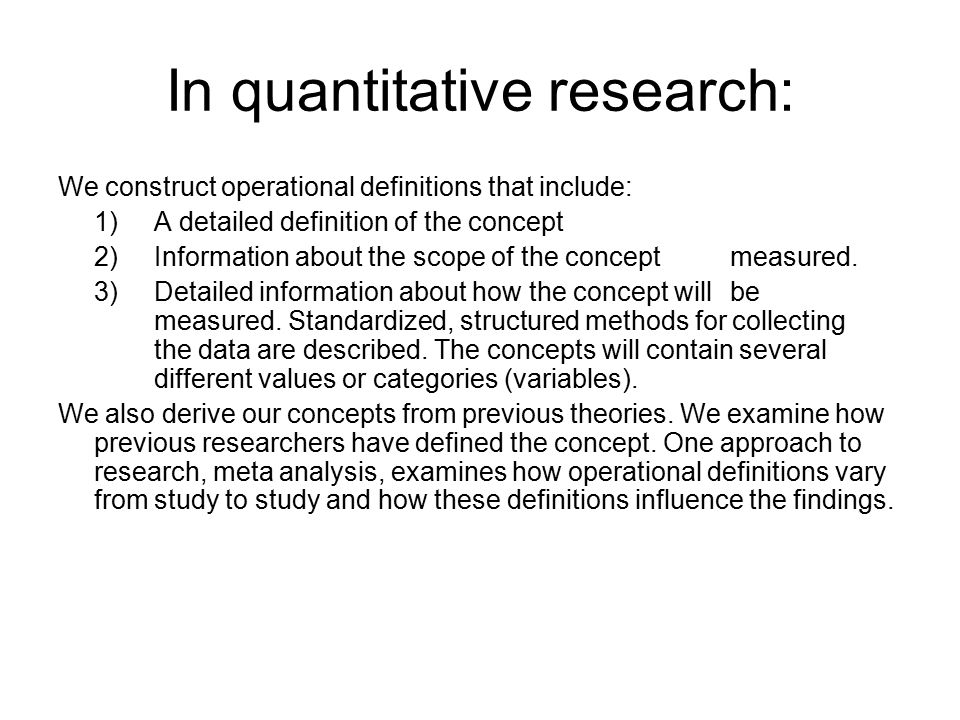 quantitative research defined The following lesson provides an overview of quantitative research including discussion of surveys, pre/post designs, pre-existing data, pilot.