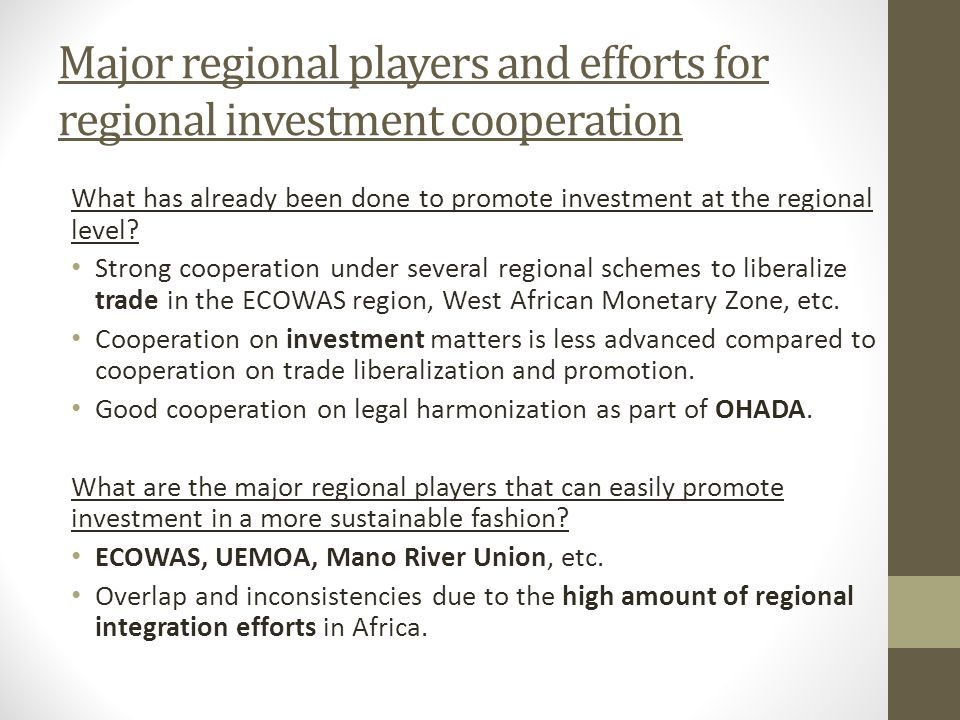 Major regional players and efforts for regional investment cooperation What has already been done to promote investment at the regional level.