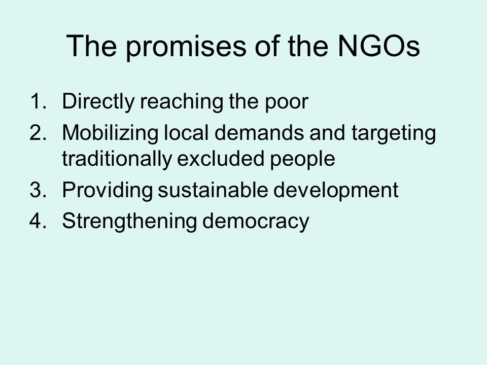 The promises of the NGOs 1.Directly reaching the poor 2.Mobilizing local demands and targeting traditionally excluded people 3.Providing sustainable development 4.Strengthening democracy