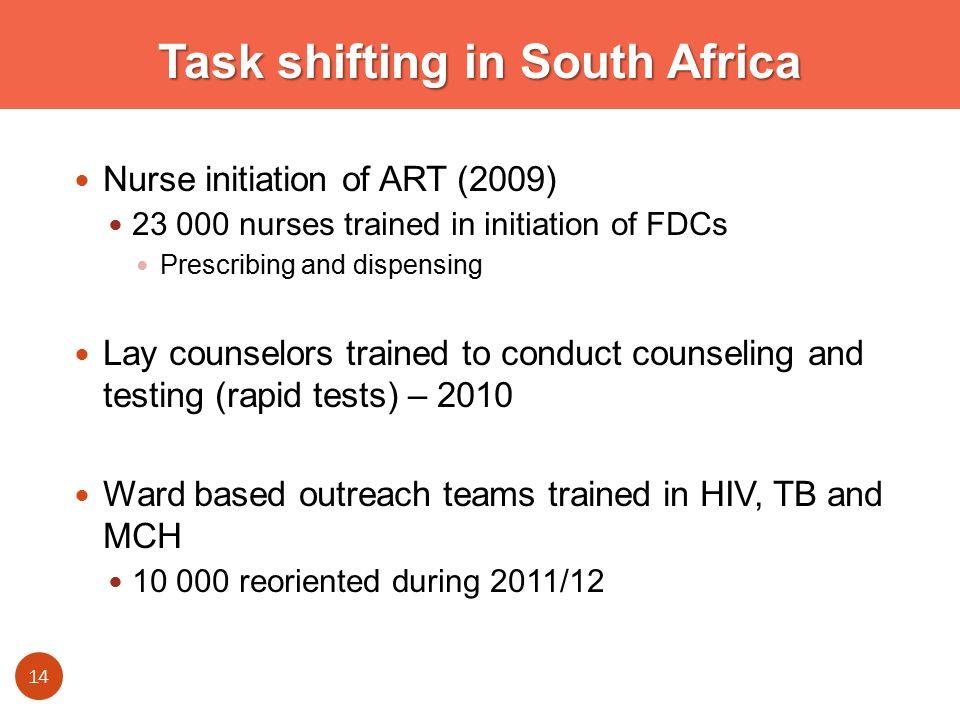 Task shifting in South Africa Nurse initiation of ART (2009) nurses trained in initiation of FDCs Prescribing and dispensing Lay counselors trained to conduct counseling and testing (rapid tests) – 2010 Ward based outreach teams trained in HIV, TB and MCH reoriented during 2011/12 14