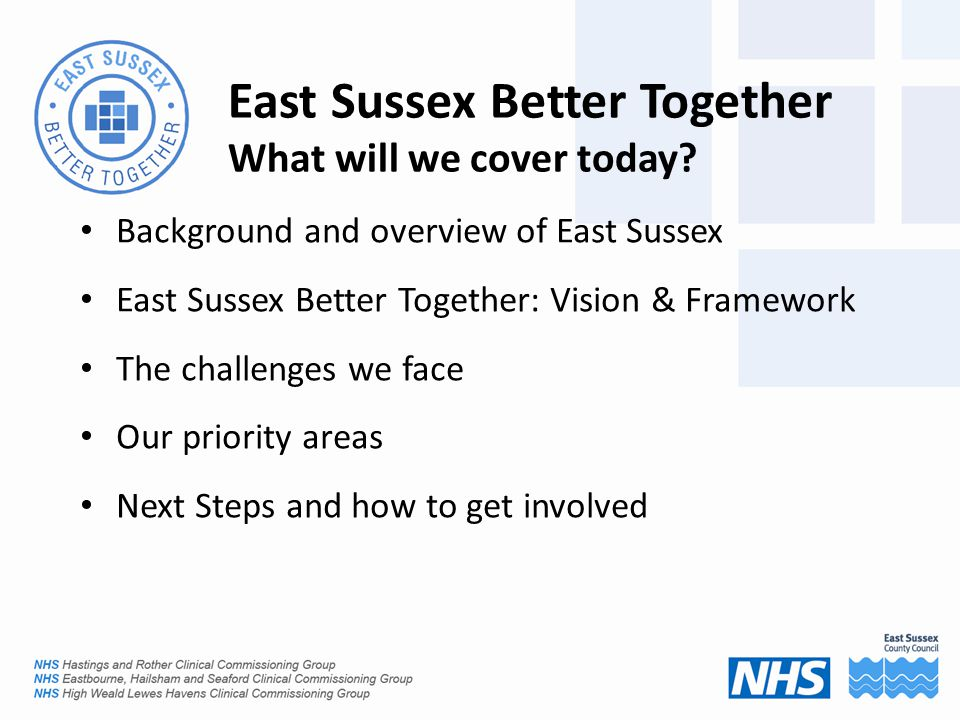 East Sussex Better Together What will we cover today.