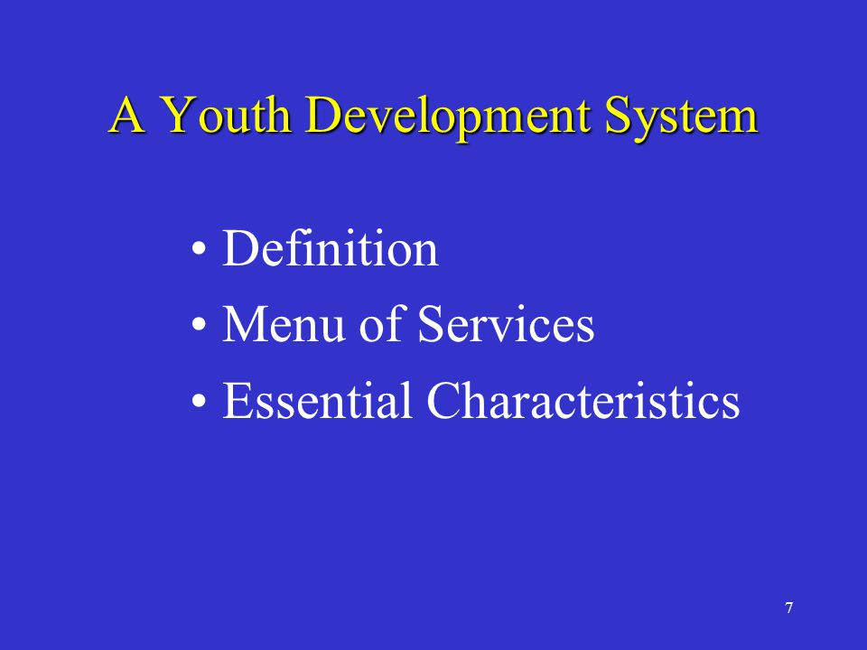 7 A Youth Development System Definition Menu of Services Essential Characteristics
