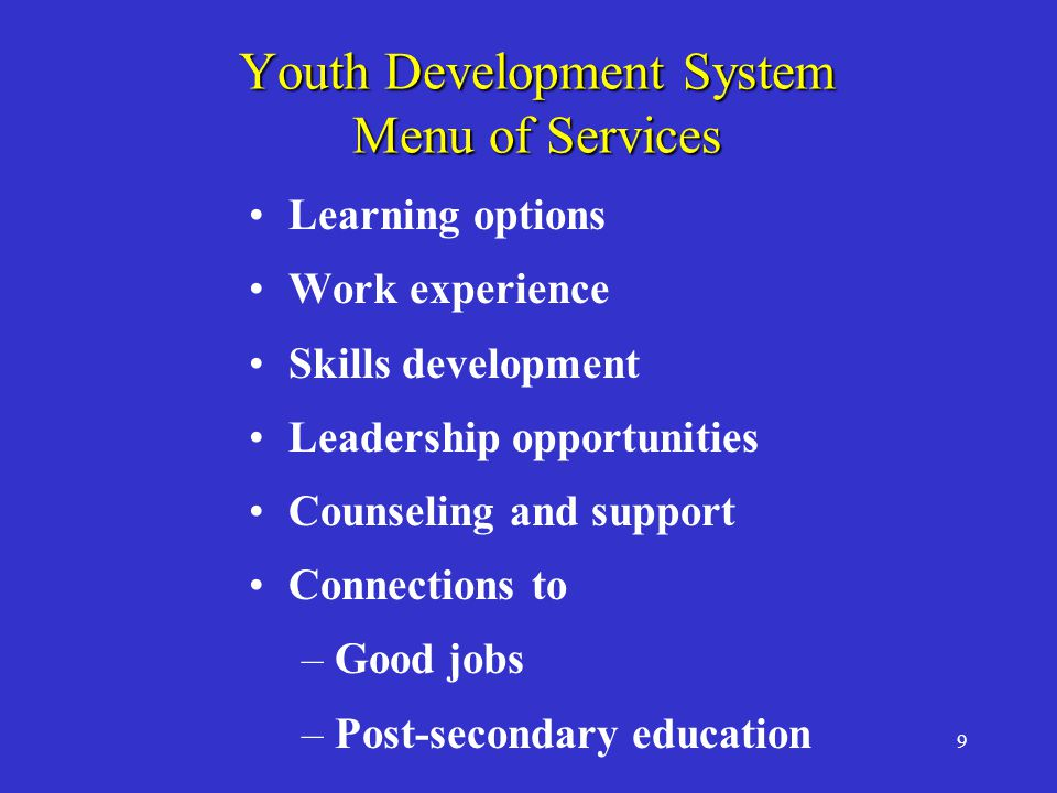 9 Youth Development System Menu of Services Learning options Work experience Skills development Leadership opportunities Counseling and support Connections to –Good jobs –Post-secondary education