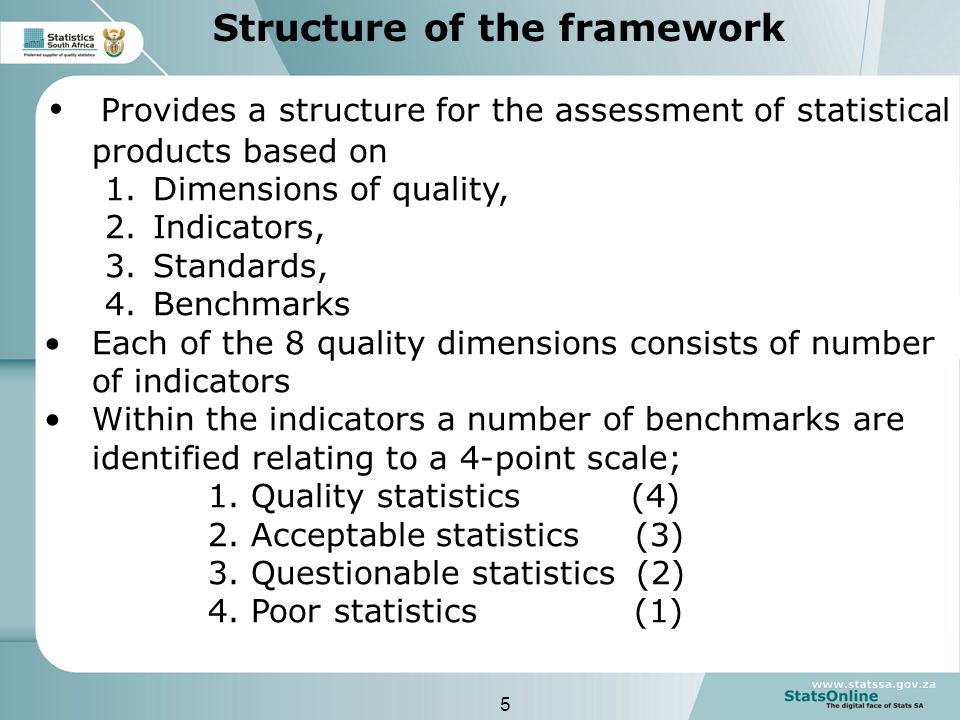 5 Structure of the framework Provides a structure for the assessment of statistical products based on 1.Dimensions of quality, 2.Indicators, 3.Standards, 4.Benchmarks Each of the 8 quality dimensions consists of number of indicators Within the indicators a number of benchmarks are identified relating to a 4-point scale; 1.