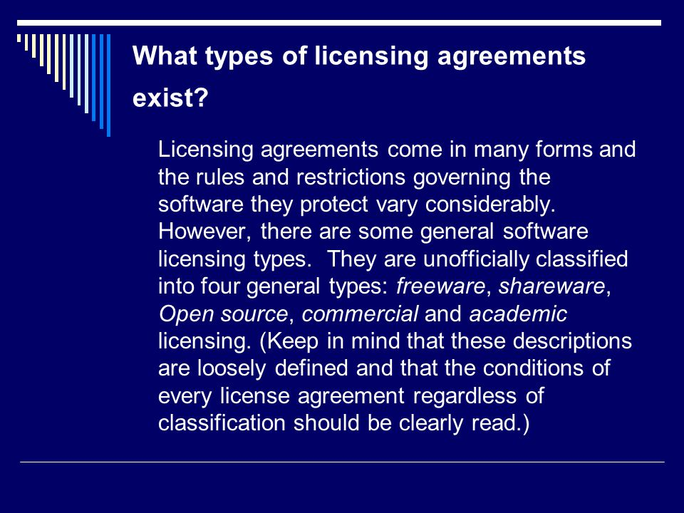 Software licensing services university of florida ppt download what types of licensing agreements exist platinumwayz