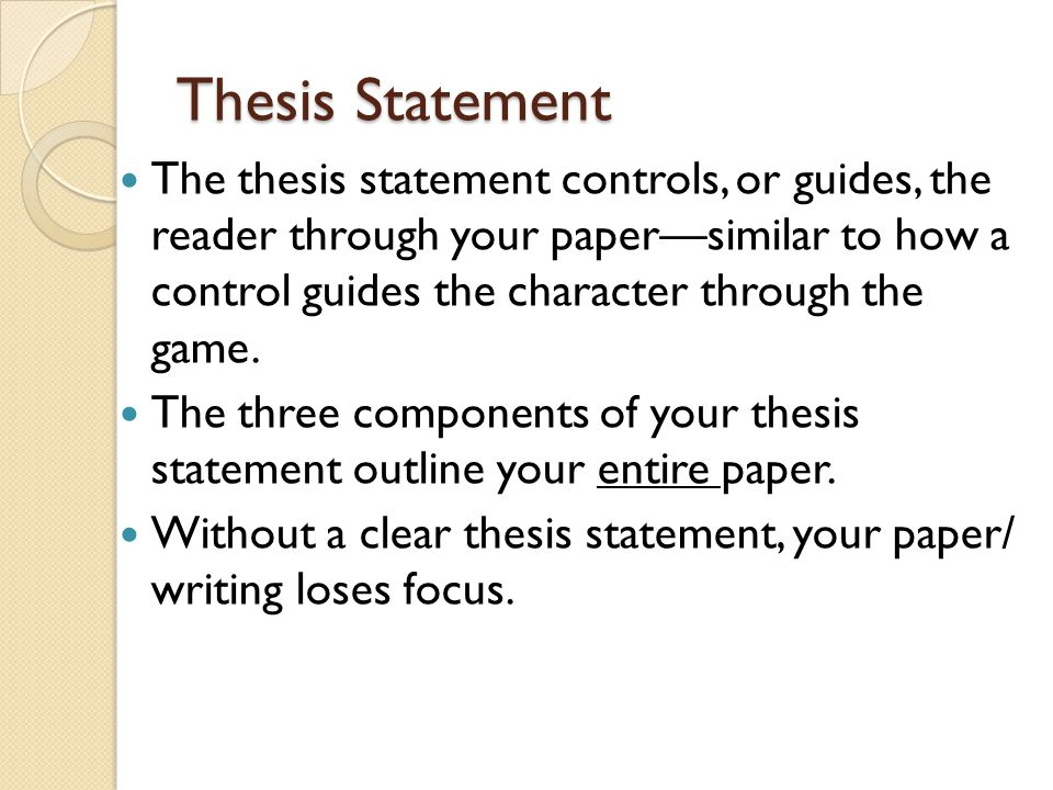 components for a clear thesis statement