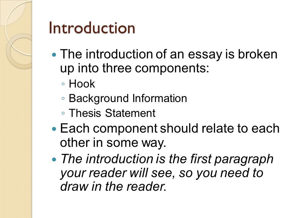 five paragraph essay writing introduction the introduction of an introduction the introduction of an essay is broken up into three components acirc151brvbar hook acirc151brvbar