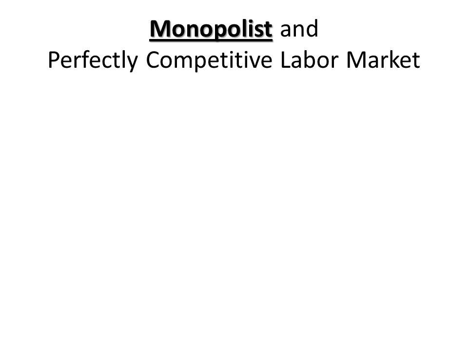 Monopolist Monopolist and Perfectly Competitive Labor Market