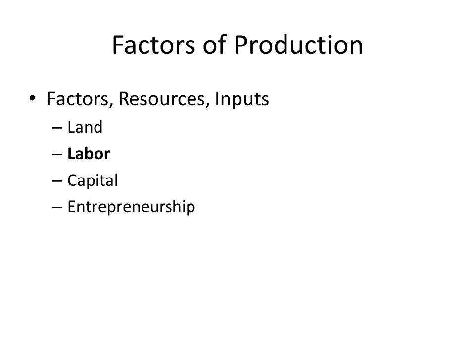 Factors of Production Factors, Resources, Inputs – Land – Labor – Capital – Entrepreneurship