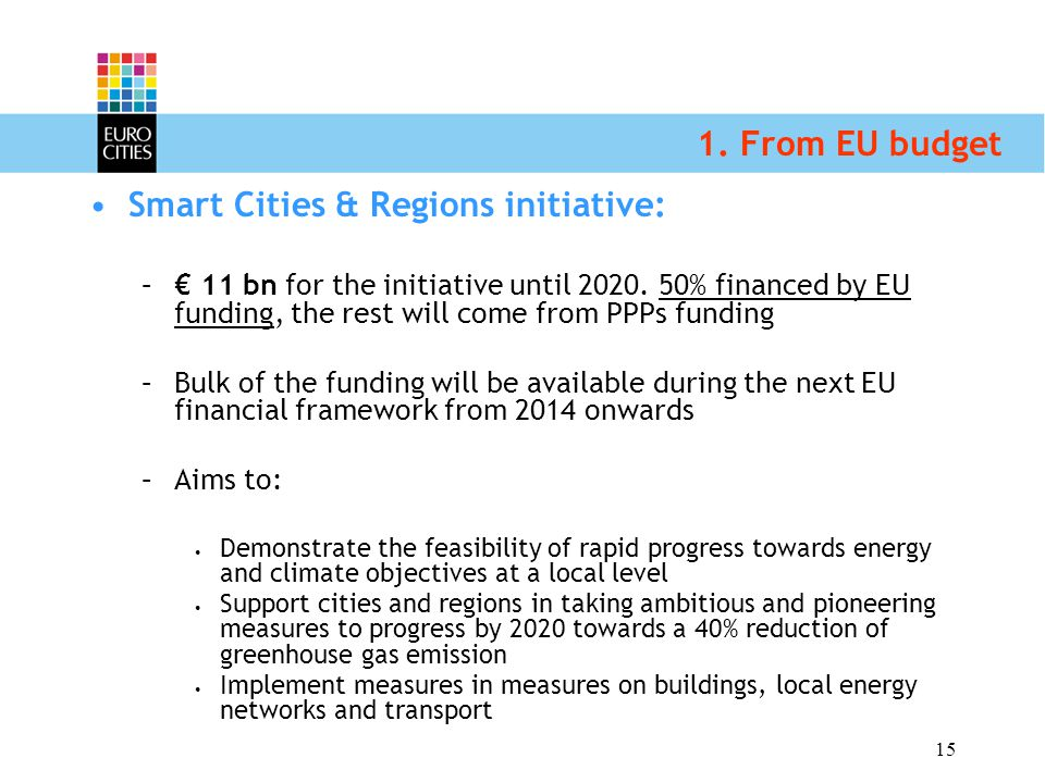 15 1. From EU budget Smart Cities & Regions initiative: –€ 11 bn for the initiative until