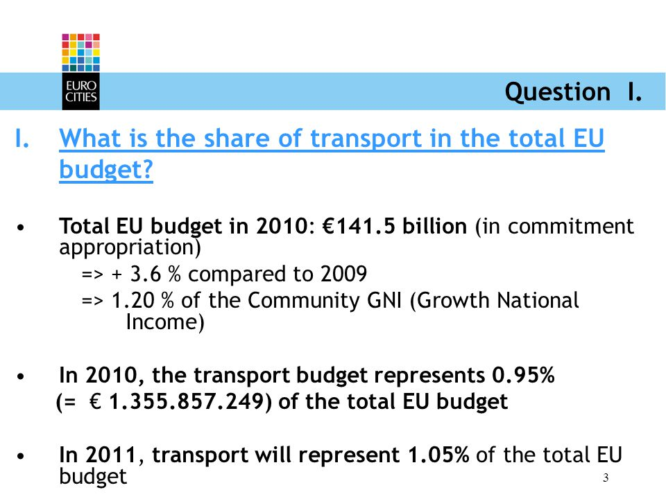 3 Question I. I.What is the share of transport in the total EU budget.
