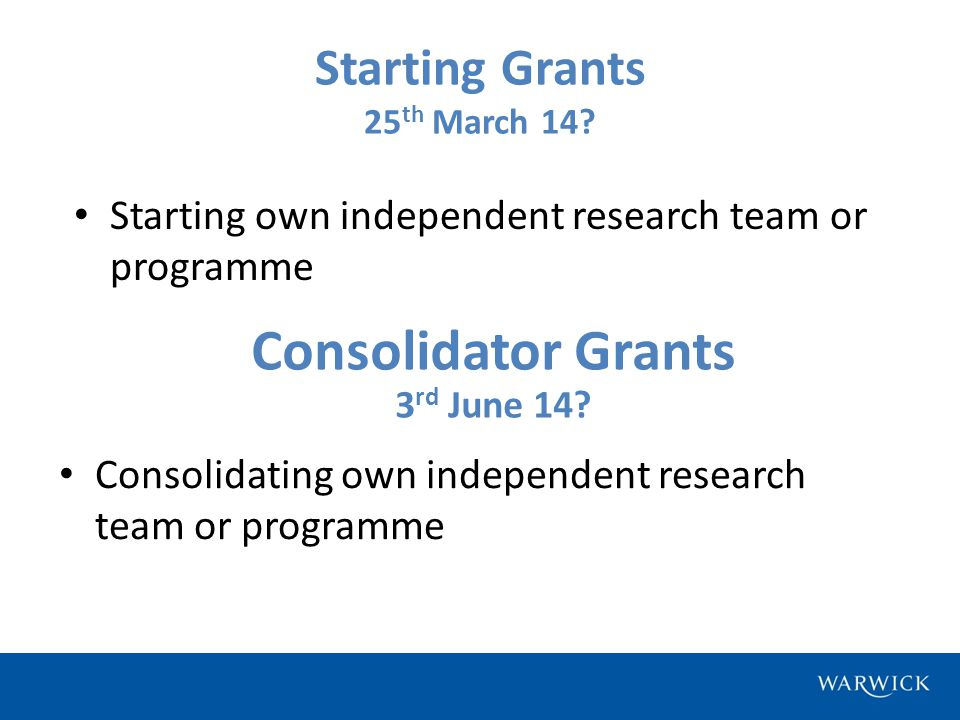 Starting Grants 25 th March 14.
