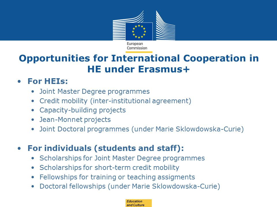 Opportunities for International Cooperation in HE under Erasmus+ For HEIs: Joint Master Degree programmes Credit mobility (inter-institutional agreement) Capacity-building projects Jean-Monnet projects Joint Doctoral programmes (under Marie Sklowdowska-Curie) For individuals (students and staff): Scholarships for Joint Master Degree programmes Scholarships for short-term credit mobility Fellowships for training or teaching assigments Doctoral fellowships (under Marie Sklowdowska-Curie) Education and Culture
