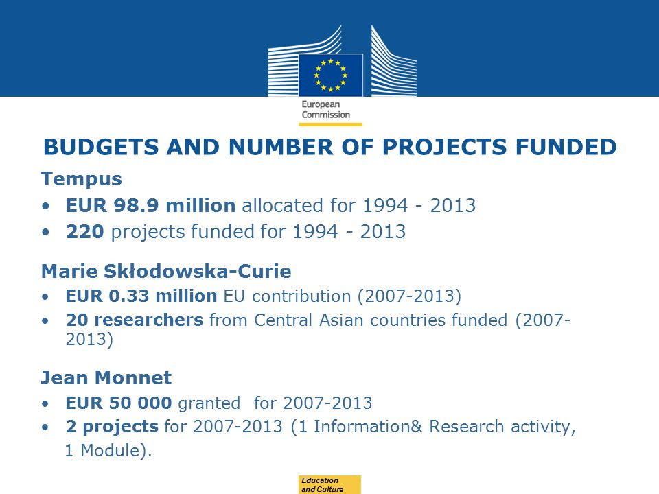 BUDGETS AND NUMBER OF PROJECTS FUNDED Tempus EUR 98.9 million allocated for projects funded for Marie Skłodowska-Curie EUR 0.33 million EU contribution ( ) 20 researchers from Central Asian countries funded ( ) Jean Monnet EUR granted for projects for (1 Information& Research activity, 1 Module).