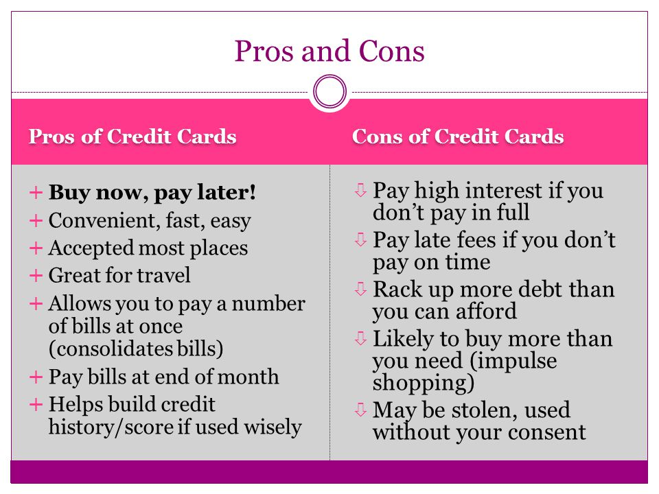 5 Pros Of Credit Cards Cons