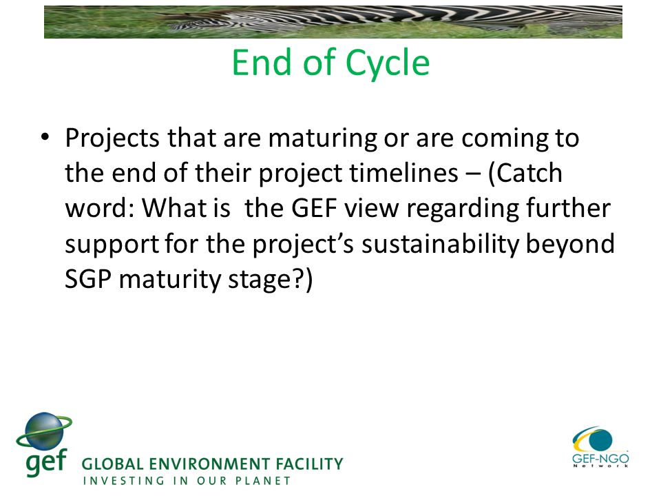 End of Cycle Projects that are maturing or are coming to the end of their project timelines – (Catch word: What is the GEF view regarding further support for the project's sustainability beyond SGP maturity stage )