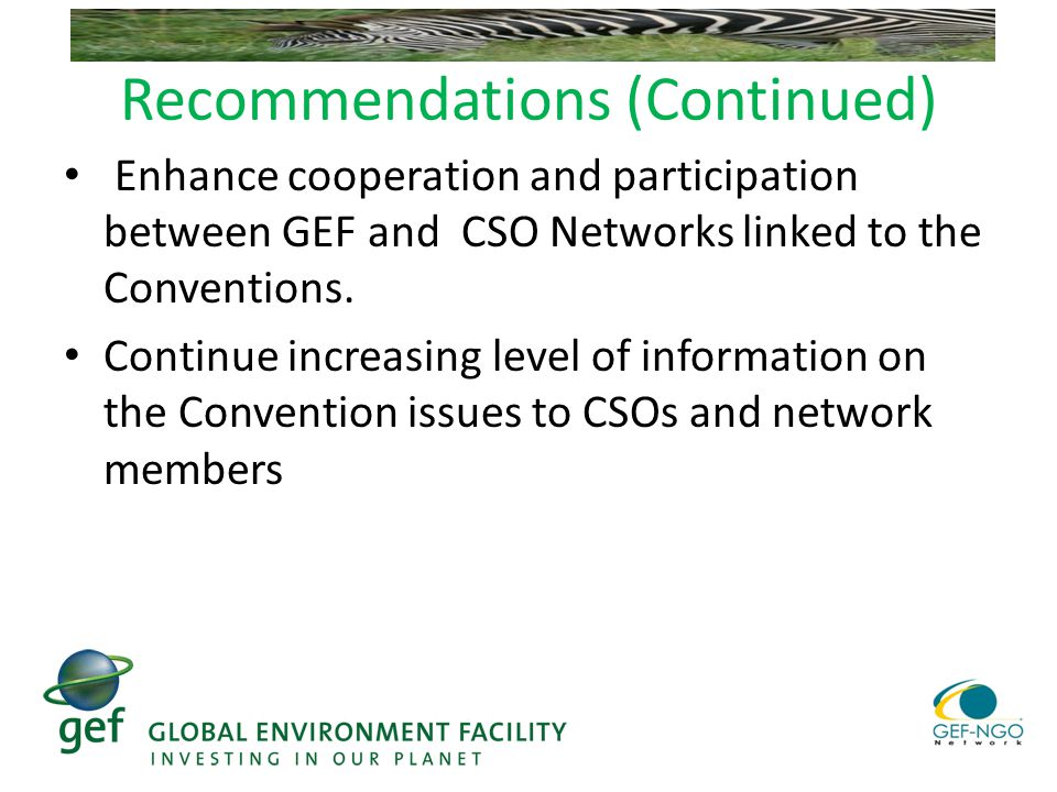 Recommendations (Continued) Enhance cooperation and participation between GEF and CSO Networks linked to the Conventions.