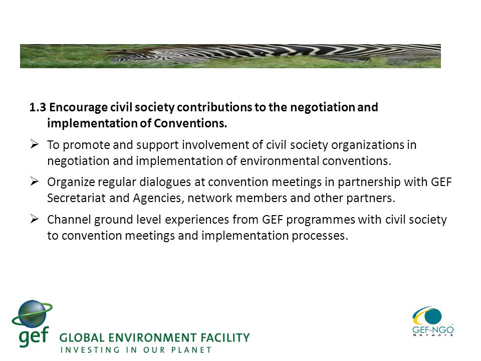 1.3 Encourage civil society contributions to the negotiation and implementation of Conventions.