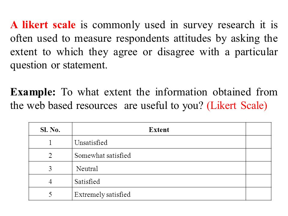 likert style questionnaire Questionnaire for teachers check upon a 5-point likert scale for each question extent of effectiveness was checked across a 4-point likert scale.