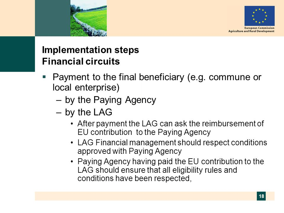 18 Implementation steps Financial circuits  Payment to the final beneficiary (e.g.