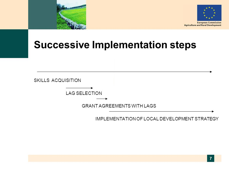 7 Successive Implementation steps SKILLS ACQUISITION LAG SELECTION GRANT AGREEMENTS WITH LAGS IMPLEMENTATION OF LOCAL DEVELOPMENT STRATEGY