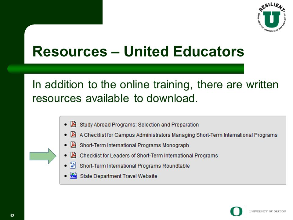 Resources – United Educators In addition to the online training, there are written resources available to download.