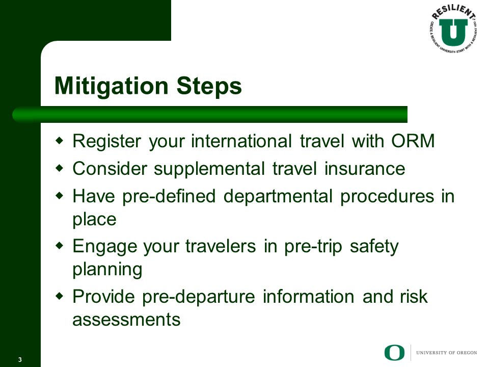 Mitigation Steps  Register your international travel with ORM  Consider supplemental travel insurance  Have pre-defined departmental procedures in place  Engage your travelers in pre-trip safety planning  Provide pre-departure information and risk assessments 3