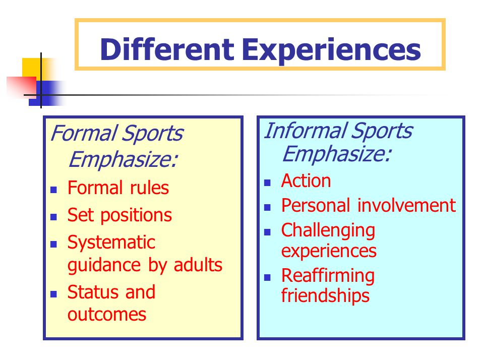 Different Experiences Formal Sports Emphasize: Formal rules Set positions Systematic guidance by adults Status and outcomes Informal Sports Emphasize: Action Personal involvement Challenging experiences Reaffirming friendships