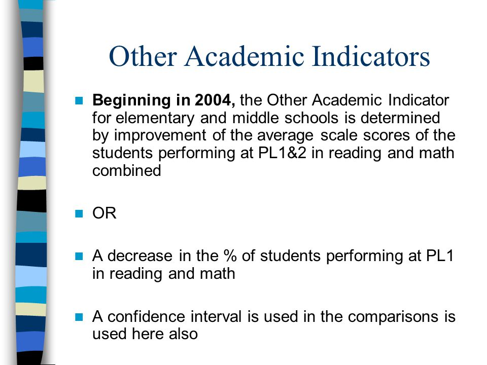 Other Academic Indicators Beginning in 2004, the Other Academic Indicator for elementary and middle schools is determined by improvement of the average scale scores of the students performing at PL1&2 in reading and math combined OR A decrease in the % of students performing at PL1 in reading and math A confidence interval is used in the comparisons is used here also