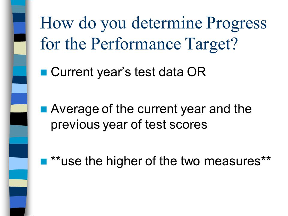 How do you determine Progress for the Performance Target.