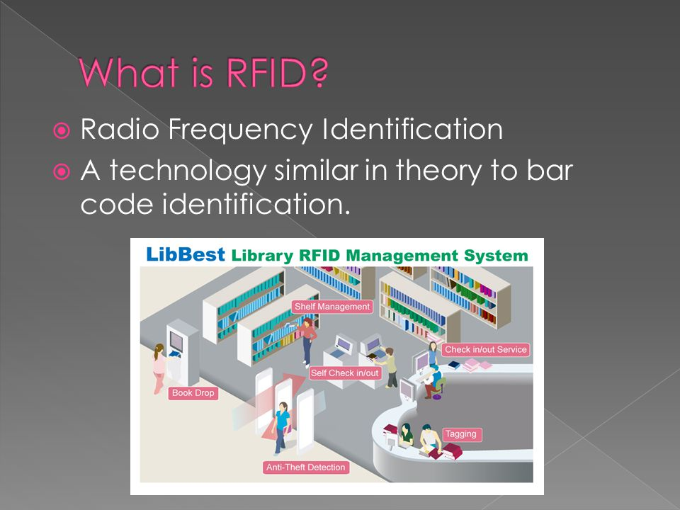  Radio Frequency Identification  A technology similar in theory to bar code identification.