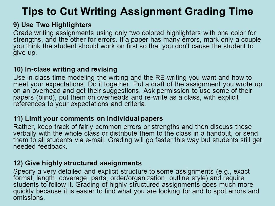 Grading writing assignments