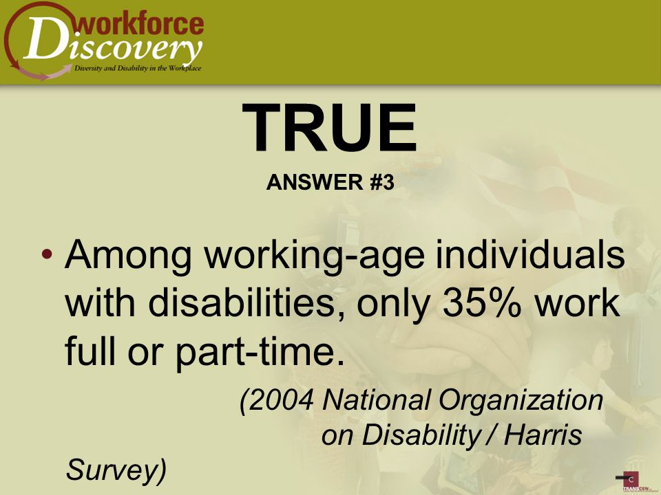 Among working-age individuals with disabilities, only 35% work full or part-time.