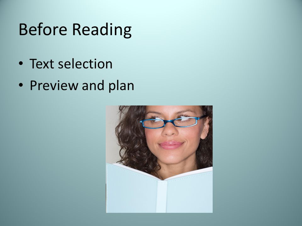 Before Reading Text selection Preview and plan