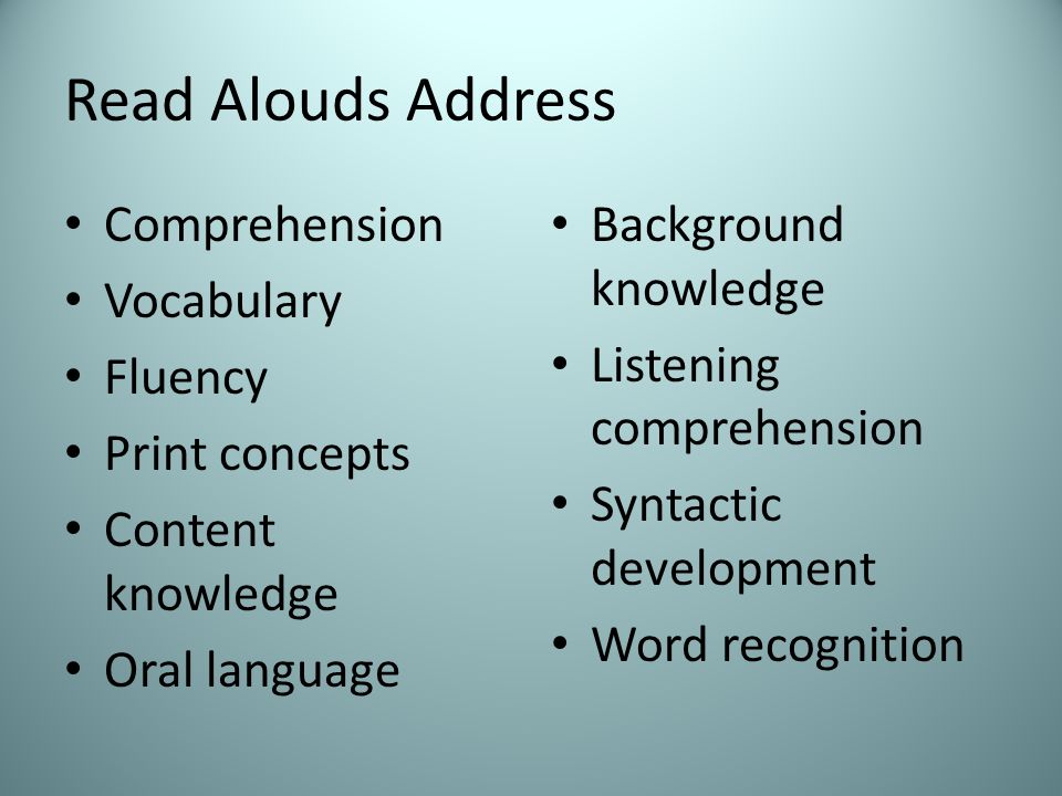 Read Alouds Address Comprehension Vocabulary Fluency Print concepts Content knowledge Oral language Background knowledge Listening comprehension Syntactic development Word recognition
