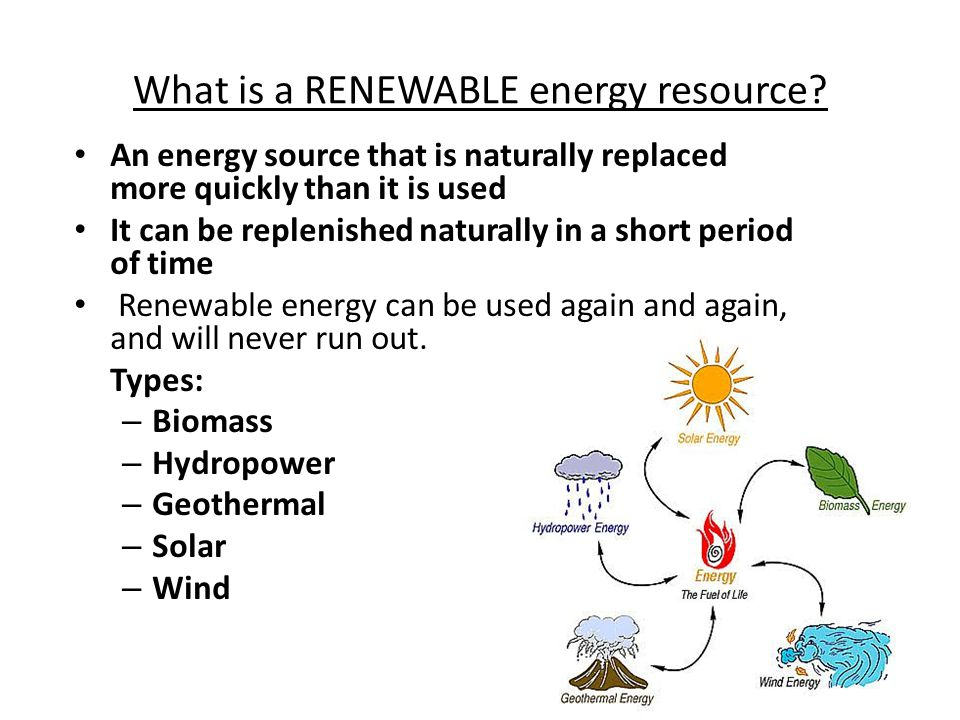 What is a RENEWABLE energy resource.