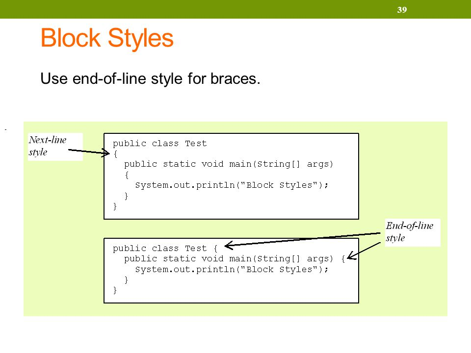 Block Styles Use end-of-line style for braces. 39