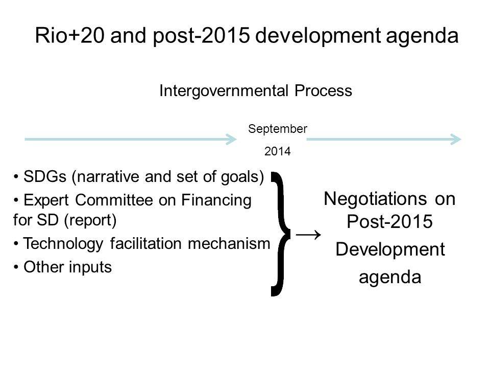 Rio+20 and post-2015 development agenda → SDGs (narrative and set of goals) Expert Committee on Financing for SD (report) Technology facilitation mechanism Other inputs Intergovernmental Process Negotiations on Post-2015 Development agenda September 2014