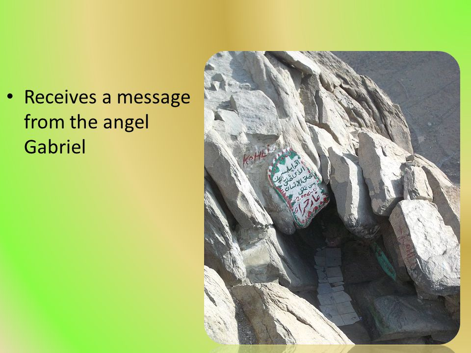 Receives a message from the angel Gabriel