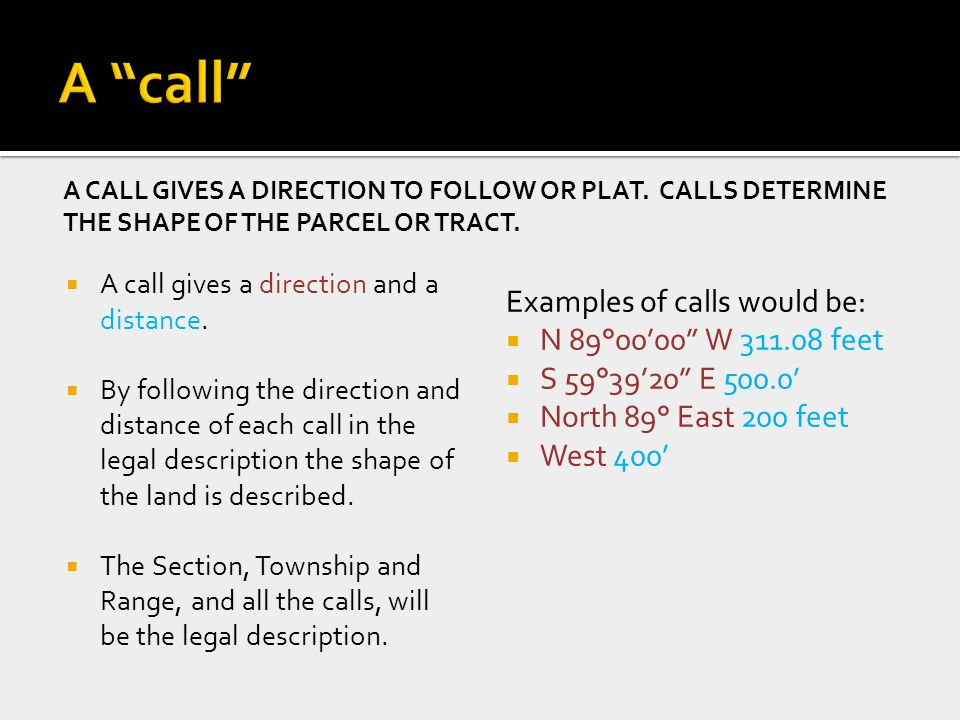 Section township range by cytetn industries inc cytetn a call gives a direction to follow or plat calls determine the shape of the ccuart Gallery