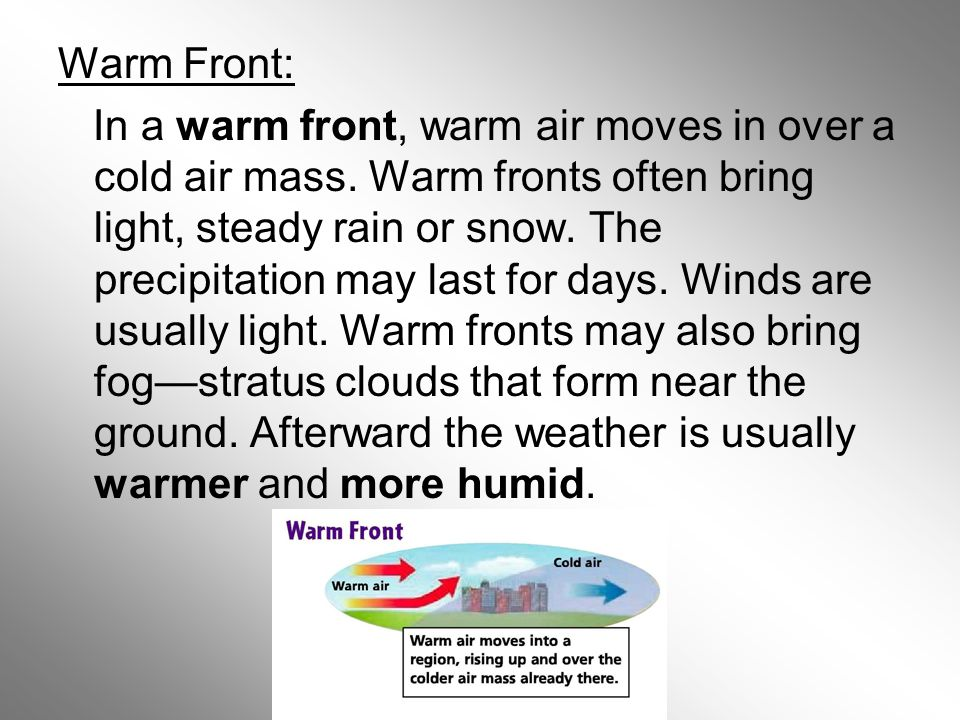 Warm Front: In a warm front, warm air moves in over a cold air mass.