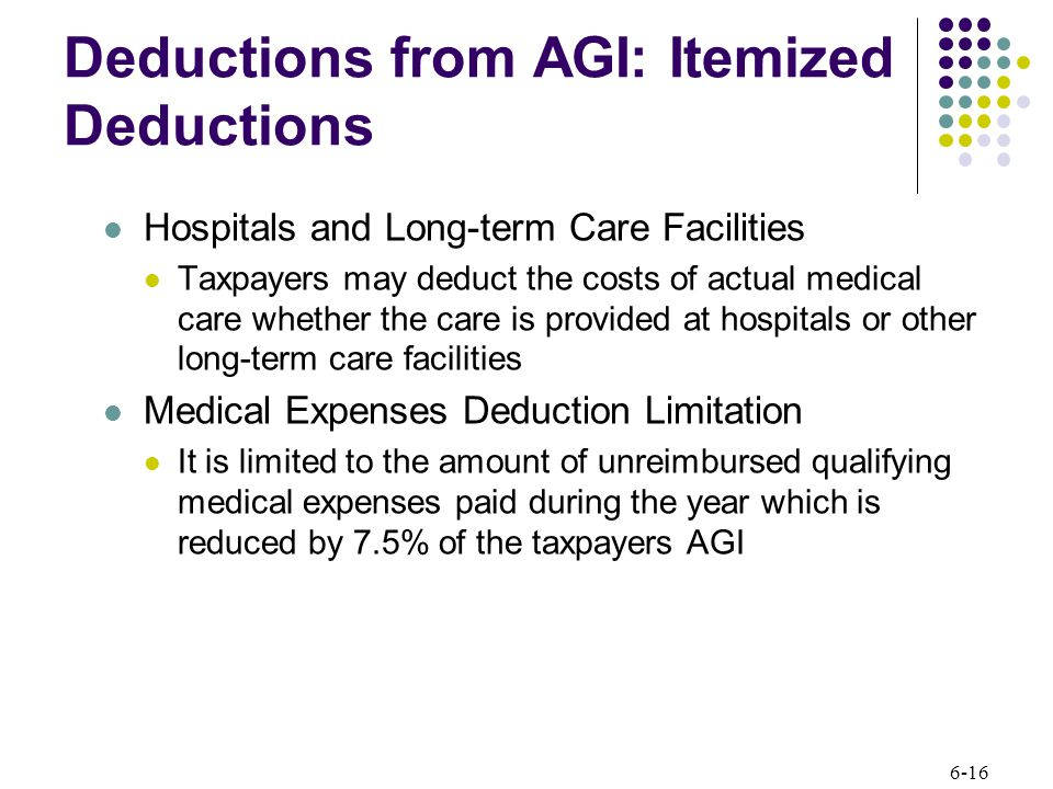 6-16 Deductions from AGI: Itemized Deductions Hospitals and Long-term Care Facilities Taxpayers may deduct the costs of actual medical care whether the care is provided at hospitals or other long-term care facilities Medical Expenses Deduction Limitation It is limited to the amount of unreimbursed qualifying medical expenses paid during the year which is reduced by 7.5% of the taxpayers AGI