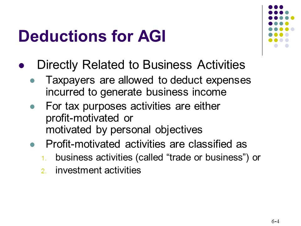 6-4 Deductions for AGI Directly Related to Business Activities Taxpayers are allowed to deduct expenses incurred to generate business income For tax purposes activities are either profit-motivated or motivated by personal objectives Profit-motivated activities are classified as 1.