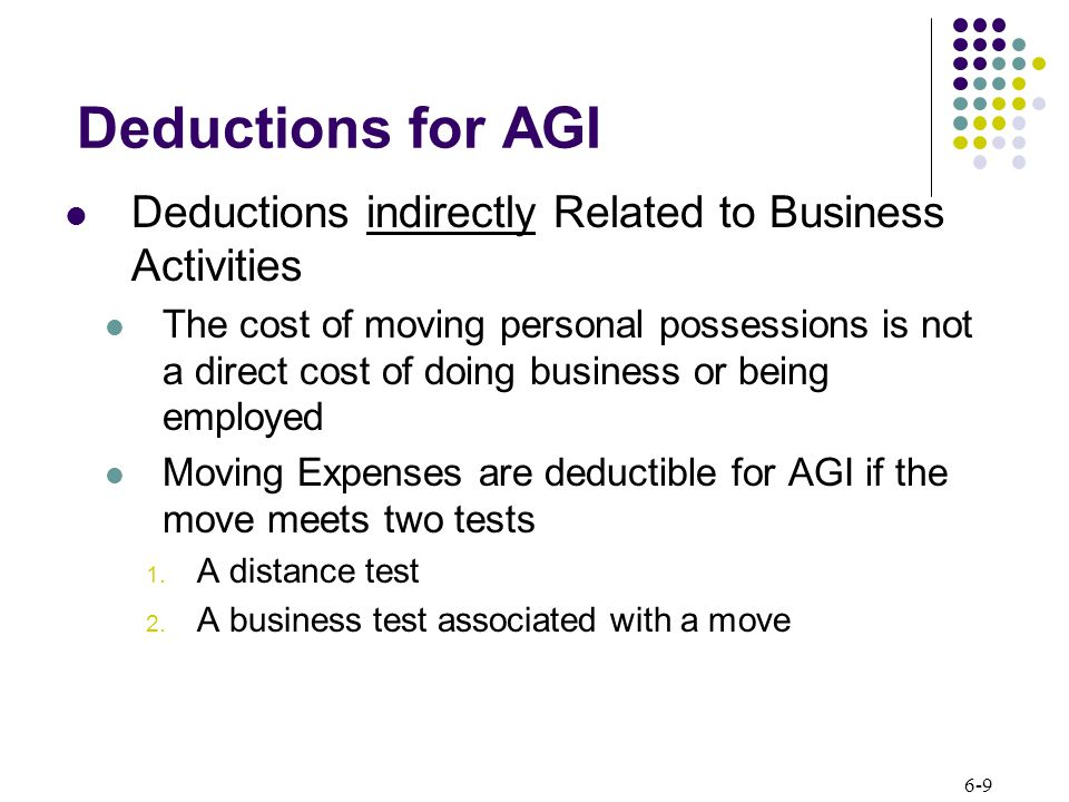 6-9 Deductions for AGI Deductions indirectly Related to Business Activities The cost of moving personal possessions is not a direct cost of doing business or being employed Moving Expenses are deductible for AGI if the move meets two tests 1.